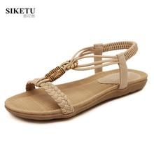 High Quality Women's Summer Bohemia Shoes 2017 Fashion Beads Knit Platform Sandals Women Beach Flats