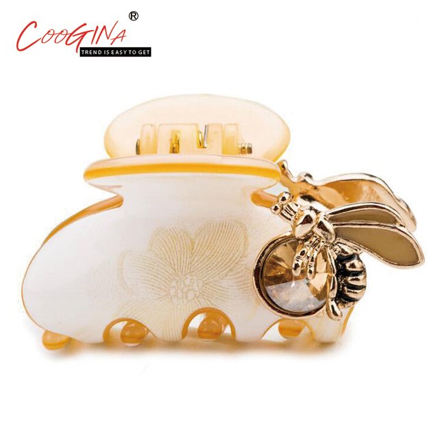 Coogina 2018 New High Quality Bee Rhinestone Hair Claws Girls Hair     Coogina 2018 New High Quality Bee Rhinestone Hair Claws Girls Hair Accessories  Elegant Noble Hair Claw
