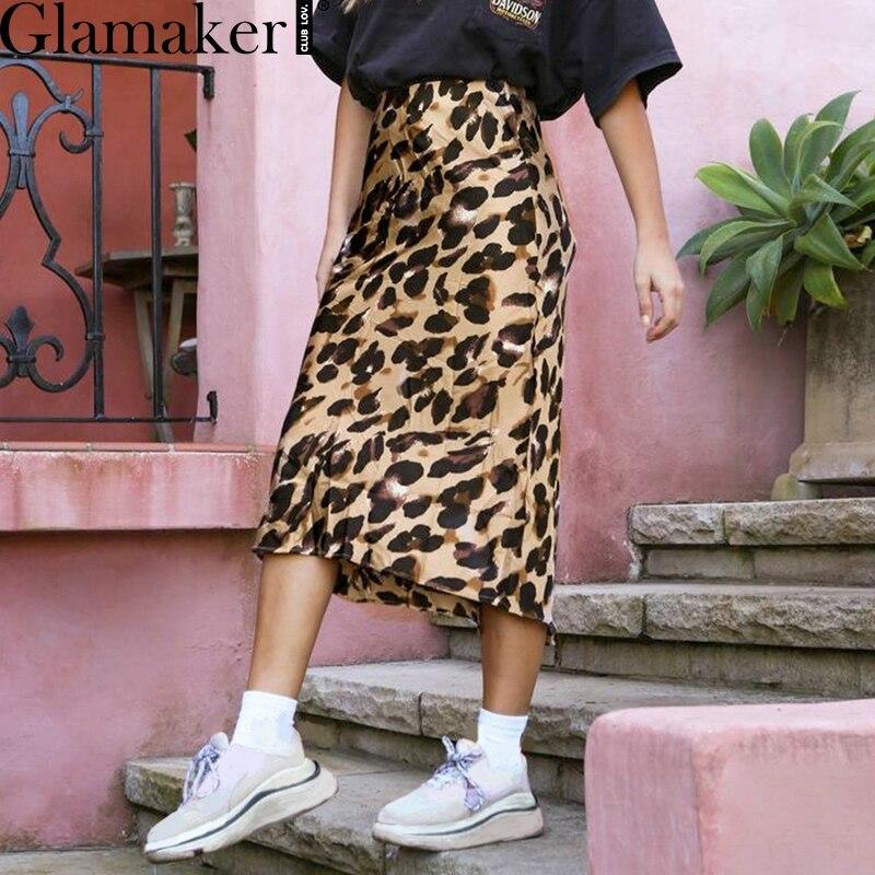 c0eefc8cb4c Glamaker леопардовым принтом Высокая талия линия юбка Для женщин  Повседневная Осенняя юбка элегантные вечерние Клубные пикантные
