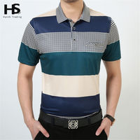 HS Summer Thin T Shirt With Pocket Cotton Striped T Shirt Short Sleeve Top Men Turn