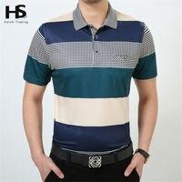 HS Summer Thin T Shirt With Pocket Cotton Striped T Shirt Short Sleeve Top Men Turn