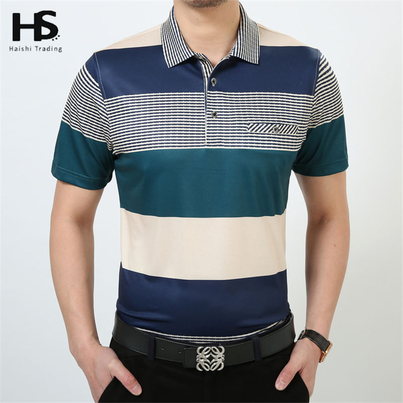 Hs summer thin t shirt with pocket cotton striped t shirt for Best striped t shirt