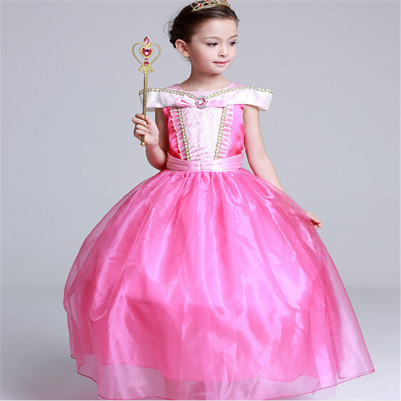 Hot Halloween girl party dress snow queen elsa princess dress cosplay costume kids dresses for girls clothes children clothing 2017 rapunzel cosplay dress children girls long hair princess dress halloween costume clothes kids clothing with sleeves garland
