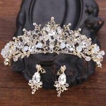 Handmade Gold Crystal tiara Hair Crown For Bride Hair Jewelry Sweet Princess tiara Crown Fashion Wedding Hair Accessories HG177