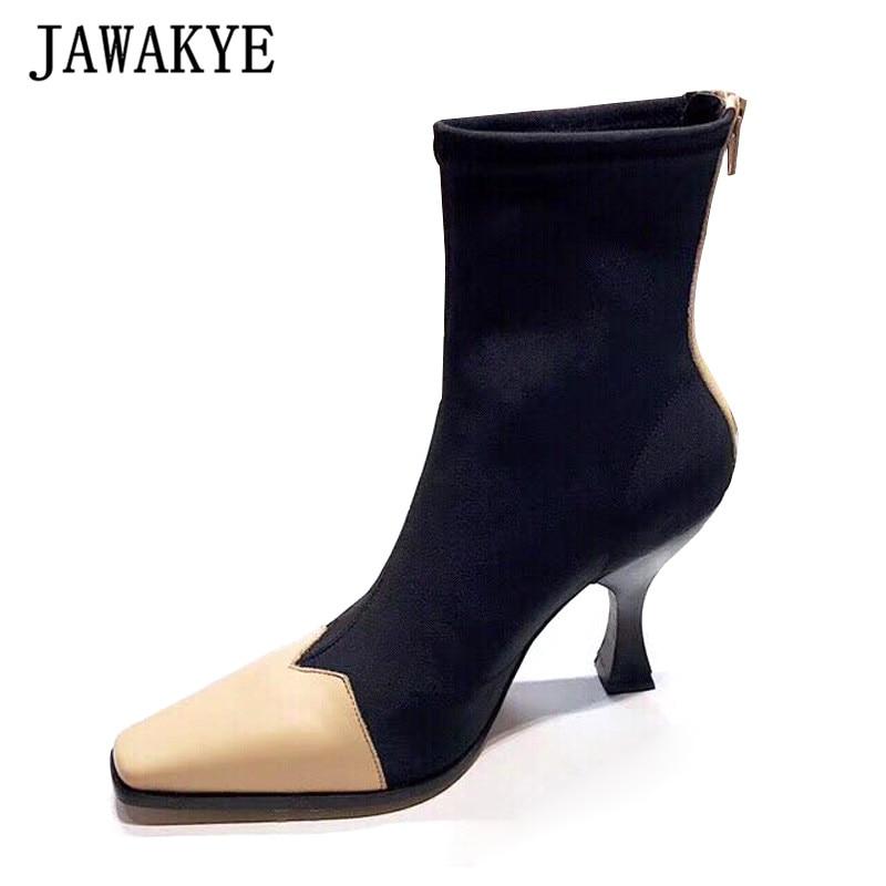2018 neueste Stretch Socke Stiefel Frauen Leder Karree Patchwork Seltsame Ferse Schuhe Frau Mode Stiefeletten Sommer-in Knöchel-Boots aus Schuhe bei  Gruppe 1