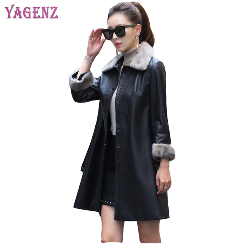 Winter Women Long   Leather   Coat 2018 New Solid Color Water Mink Collar Sheepskin Coat Loose Warm Plus Size PU   Leather   Jacket B119