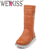 WETKISS Big Size 33 44 Metal Charm Platform Slip On Snow Boots Plush Russia Warm Winter