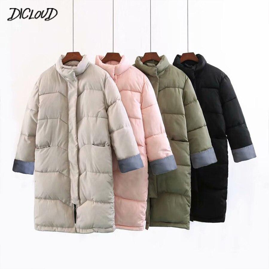Зимнее плотное длинное пальто для женщин простой меховой жакет с вортником стойкой свободные парки Женская Толстовка Harajuku плюс размер куртка повседневная верхняя одежда