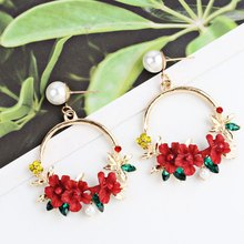 2019 Korean Trendy Cute Sweet Blossom Flower Big Circle Dangle Earrings Trim Pearl Geometric Round Earrings For Women Party Gift(China)