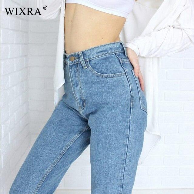 WIXRA di Base Denim Jeans Classic 4 Stagione Delle Donne Dei Jeans A Vita Alta Vintage Mamma di Stile Dei Jeans Della Matita di Alta Qualità Cowboy Denim pantaloni