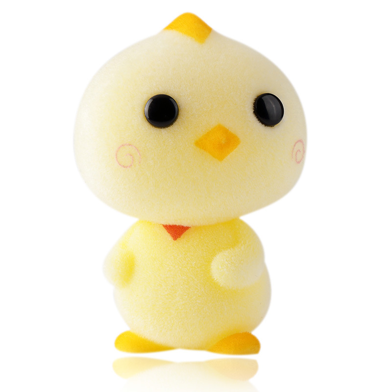 Cute Chicken Flocking Doll Toy Kawaii Mini Animals Actions Figure Toys Mini Chick For Baby Kids Toys Gifts Car Home Decoration