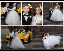 Princess Little Flower Girl  Dresses with Sheer Long Sleeves High Neck Puffy Ball Gown White First Communion Dresses