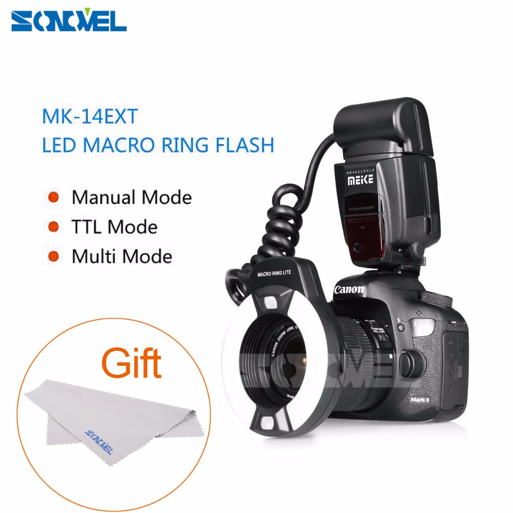 Meike MK-14EXT Macro TTL ring flash E-TTL TTL with LED AF assist lamp for Canon 5DIII 5DII 7D 700D 650D 600D 760D 6D 40D 450D meke meike mk 14ext macro ttl ring flash for canon e ttl ttl with led af assist lamp