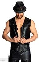 2018 Fashion Men Sexy Club Party Performance Slim Tank Top PVC Leather Men Cardigan Vest Tops