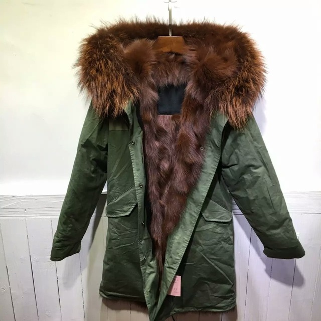 big sale 313d1 e16b3 US $720.0 |Brown Fully Fox Fur Parka Mr fur Wear, Remove Coffee Brown Fur  lining Long Mens Parka With Raccoon-in Jackets from Men's Clothing on ...