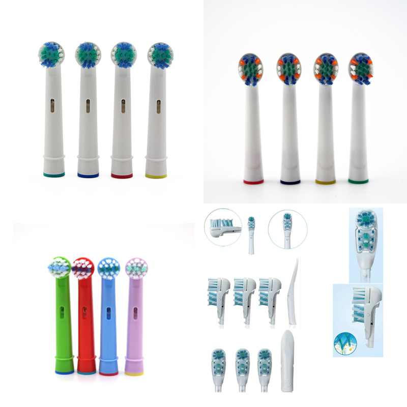 Vbatty 4Pcs/Set Replacement Toothbrush Heads Tooth Brush Replacement Brush Head For Oral B Replacement Soft-bristled 4 Colors