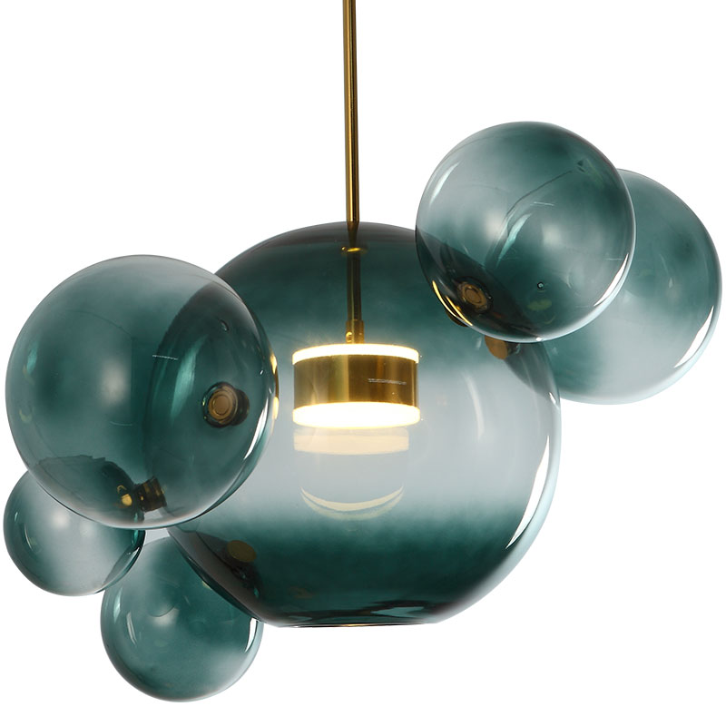 Modern Milky White / Blue Glass Globes Led Pendant Lights Dining Room Lustre Luminarias Led Hanging Lamp Suspend Lamp Fixtures