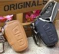 Cuero genuino Carteras de la Caja Dominante Del Coche Para Hyundai Santa Fe 2013 IX45 Cubierta Bolsas Titular de La Clave Con Llaveros