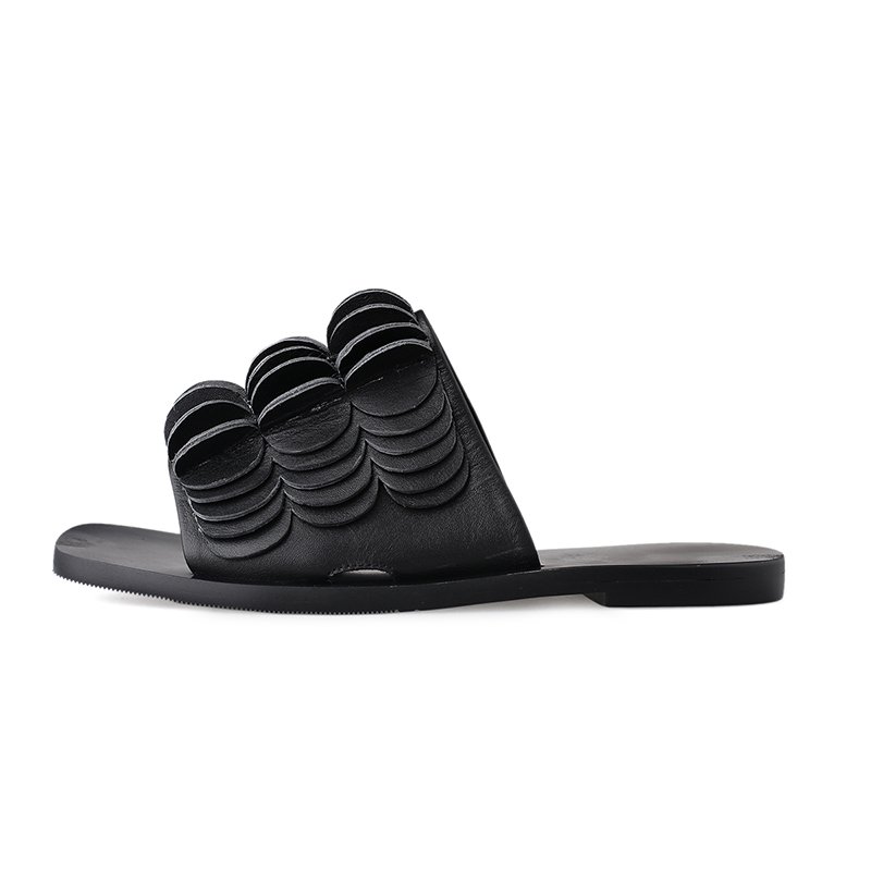moda per toe Ciabatte Black White Slides donna pelle White Casual 2019 Cule Wet Scarpe Kiss Summer New vera open in 5vzqXxA