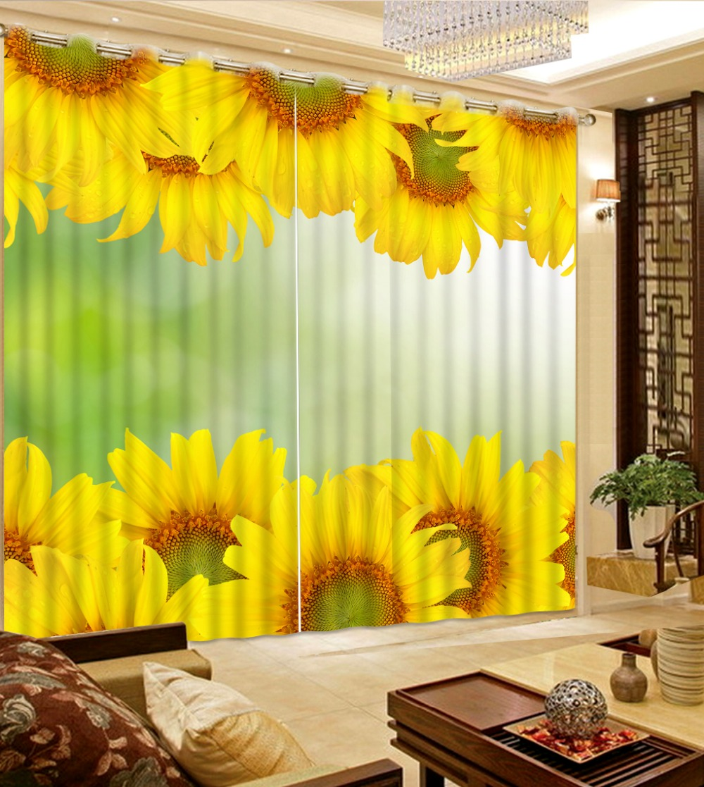 Home Decor Living Room Natural Art model home curtains sunflower curtains  living room window home bedroom