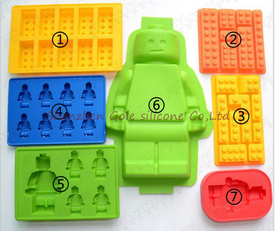 50pcs 7 style Silicone toy Brick & Minifigure Man Robot shape ilicone Fandont Chocolate Mold Ice Cube Ice Trays Baking Pan