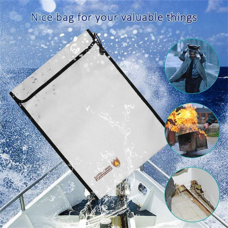 Portable Fireproof Document Bag Household Office Fire Resistant Money File Folder Waterproof File Storage Bag Safe For Documents