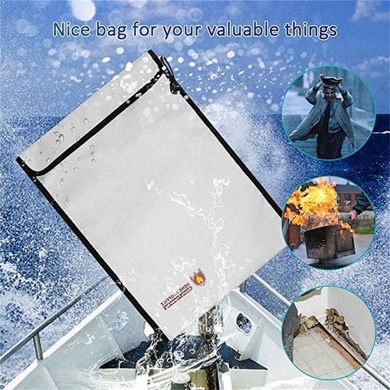 Portable Fireproof Document Bag Household Office Fire Resistant Money File Folder Waterproof File Storage Bag Safe For Documents