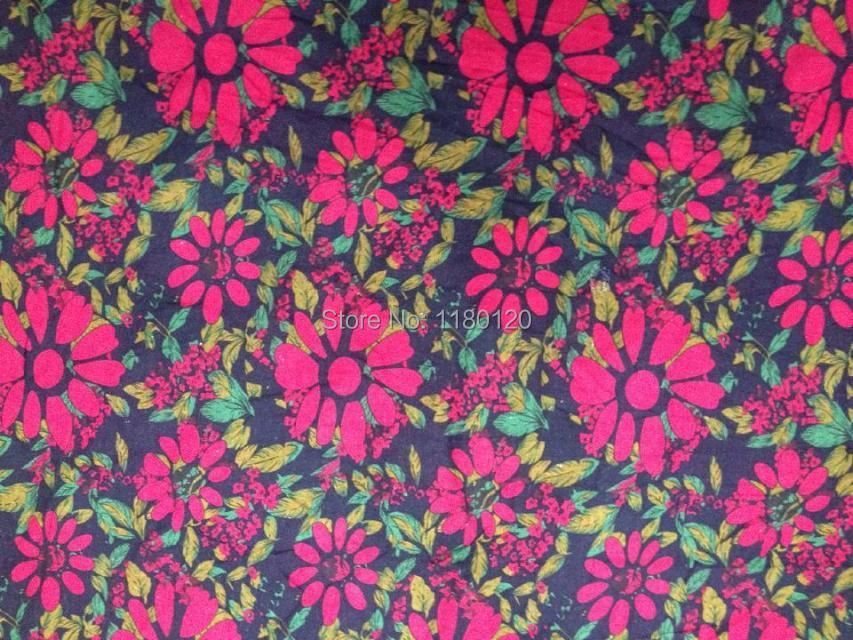 Floret Printing Crafts Home Decor Cloth Imitate Batik Floral Design Linen Fabric Material 50 140cm
