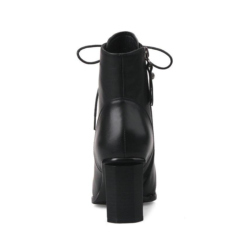 Qutaa 2020 패션 여성 발목 부츠 광장 높은 뒤꿈치 레이스 지적 발가락 정품 가죽 여성 오토바이 부츠 크기 33 42-에서앵클 부츠부터 신발 의  그룹 3