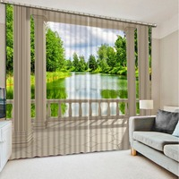 printing blackout curtains customize 3d curtains Roman column lake view living room bedroom kitchen high quality curtain
