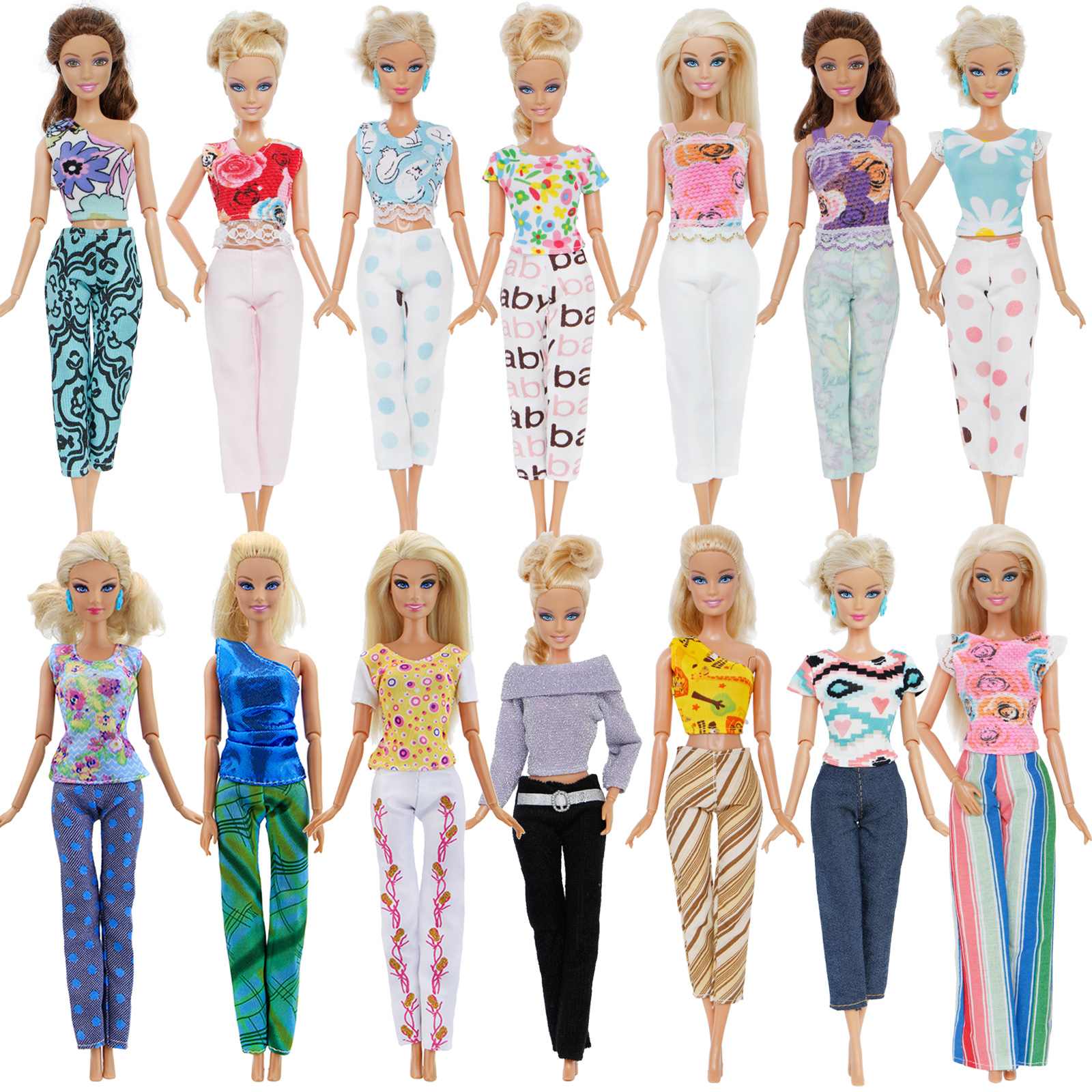 Random 10 Pcs = 5x Blouse + 5x Bottoms Trousers Pants Lady Outfits Girl Daily Wear Dollhouse Accessories Clothes For Barbie Doll