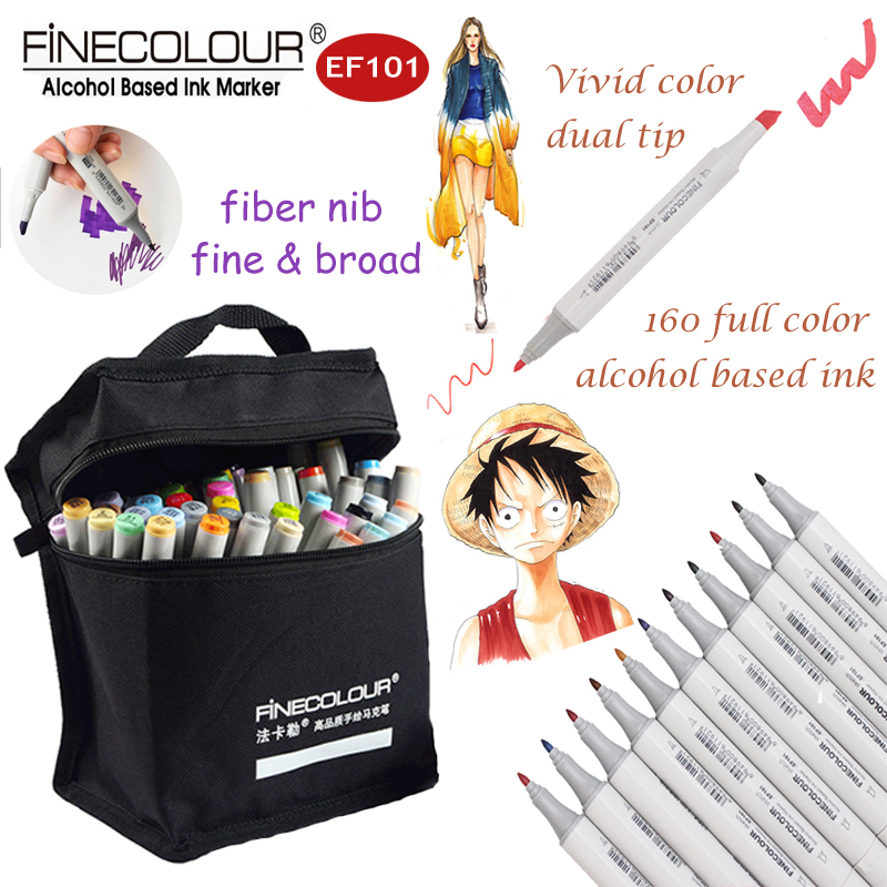 Finecolour EF101 Graffiti Marker Drawing Pens Finecolor 160/72/60/48/32 Set Dual Alcohol Sketch Markers Painting Interior Manga sketch color marker pen finecolour architecture alcohol based art markers 36 48 60 72 colors set manga marker for drawing