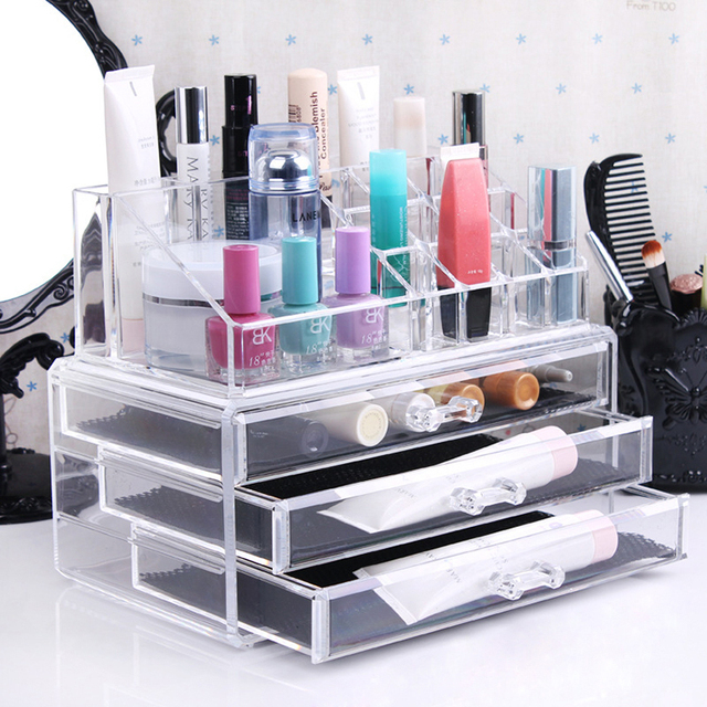 Three Layer Drawer Clear Acrylic Cosmetic Organizer Makeup Storage ...