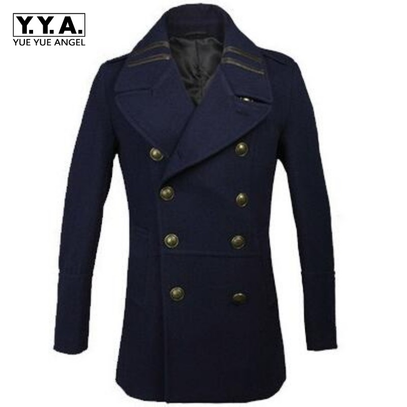 New Winter Mens Military Coats Man Double Breasted Trench Wool Blend Casual Coat Outwear Overcoat Winter Warm Jacket Size 3XL epaulet double breasted wool blend trench coat