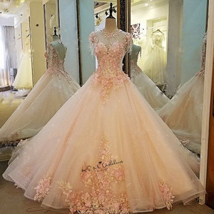 Image 3 - Женское винтажное свадебное платье, розовое фатиновое платье с жемчужинами и цветами, выполненное на заказ, 2018