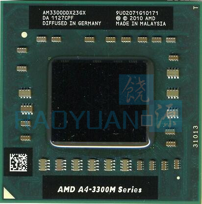 AMD A4-3300M Processor 2MB L2 Cache 1.90 GHz Socket FS1 PGA722 A4 3300M AM3300DDX23GX Dual Core Laptop Processor Socket FS1
