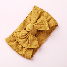 1PCS New Braid Nylon Bow Headband Hair Band Cable Knit Solid Wide Nylon Headbands Turban Girls Head Wrap Hair Accessories(China)