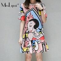 XL-5XL, большие размеры, женское шифоновое платье с рюшами, лето 2019, милое платье с рисунком для девочек, с коротким рукавом, свободное повседне...