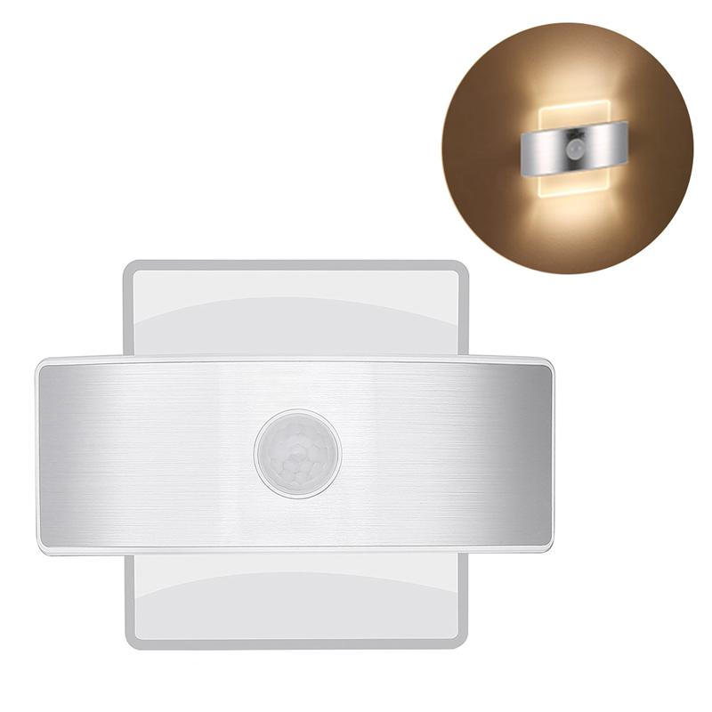 Wall Light Motion Sensor Security Lights 14 LED Night Light Indoor Square Shape Lamp Dressing Table (Warm White) ...