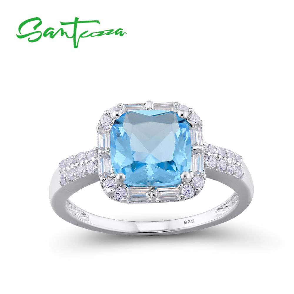 SANTUZZA Silver Rings For Women 925 Sterling Silver Newest Sparkling Luxury Rings Cushion Blue Crystal Fashion Jewelry