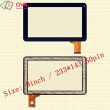 Preto 9 Polegada para Primux Básico modelo 9CQA33LX Capacitive touch screen painel de reparação peças de reposição frete grátis