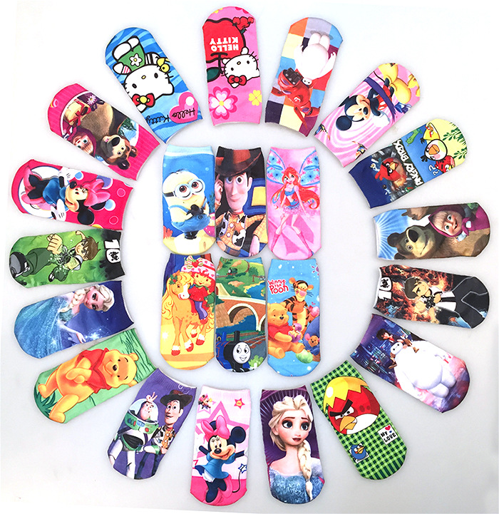 1 piece Random Cotton Socks Print Cartoon Ironman Hello Kitty Boys Girls Kids Children Spring Autumn Breathable Kid Clothing
