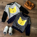 Boys long sleeve color matching stripe T-shirt Autumn Cartoon leisure hoodies Children white and navy blue t shirt Girl clothes