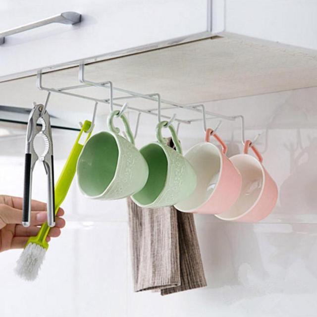 Kitchen Mug Tea Cup Storage Rack Holder With 8 Hooks For Kitchen Under Worktop Metal Shelf Spatula Brushes Hanging Racks A10