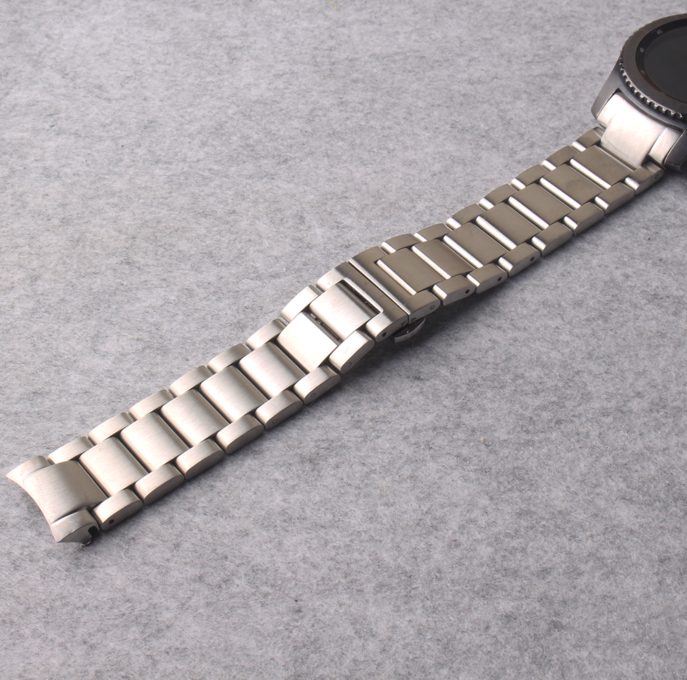 Watchbands 22mm Man Women Stainless steel Watchband solid link curved end for Gear S3 Wrist Watch Bands Straps Belt Silver Clasp