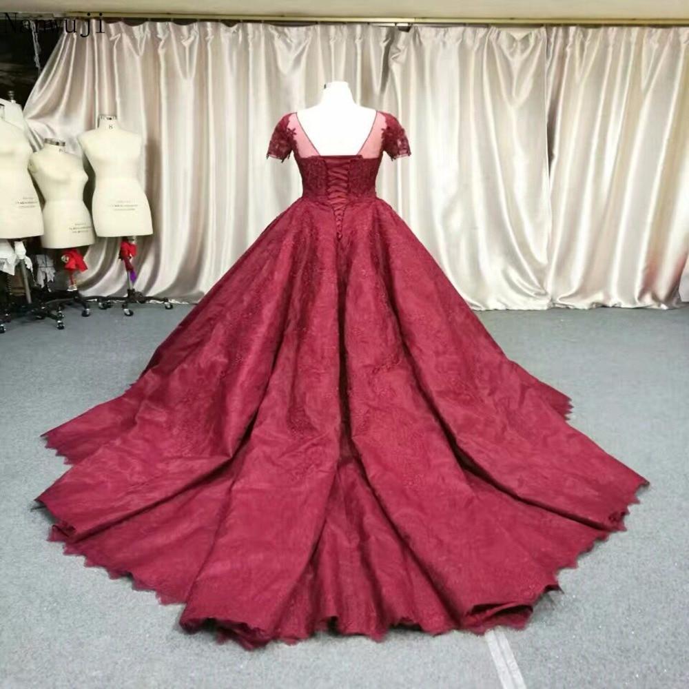 2018 Real Luxury Dark Red prinsesse blomst blonder aften kjole - Særlige occasion kjoler - Foto 4