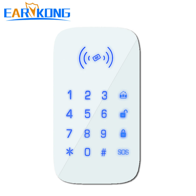 Earykong 433MHz Wireless keyboard Touch pad only for PG103   W2B   W123   G4 wifi gsm alarm system Support RFID Card