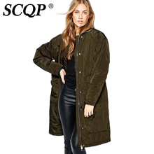 SCQP Solid Army Green Thicken Women Bomber Jacket 2016 Ladies Elegant Long Souvenir Jacket Winter Warm Casual Women Basic Coats
