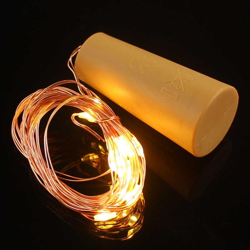 Tiras de luz con cable de cobre de 2M y 20 ledes, con tapón para botella de vidrio artesanal, decoración de bodas, guirnalda de luces navideñas