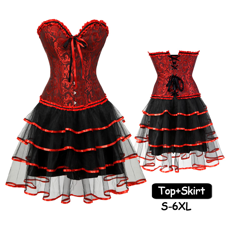 Sexy Black Red Ruffles Corset top skirts Set Women's Steampunk Plus Size Party Dress Halloween Costume Goth Bustiers and Corsets